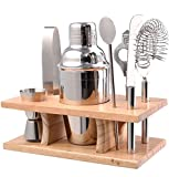 10 Piece Stainless Steel Bar Tool Set with Wooden Display Stand - Includes Cocktail Shaker Filter & Cap, Strainer, Fruit Knife, Ice Tongs, Beer & Wine Bottle Opener, Muddler, Dual Measure Jigger