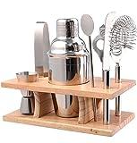 Cocktail-Set mit Holzständer, Edelstahl,inklusive Shaker mit Filter und Deckel, Sieb, Obstmesser, Eiswürfel-Zange, Flaschenöffner und Korkenzieher Stößel, Barmaß