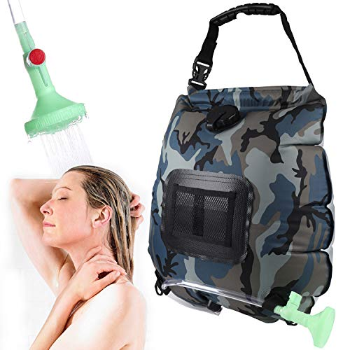 Lemcool Camping Solar Shower Bag Portable Solar Heating 5 Gallons/20L with On-Off Switchable Shower Head for Outdoor Traveling Hiking (Camouflage)