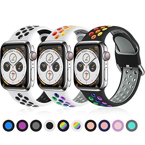Ouwegaga Cinturino di Ricambio Compatibile con Apple Watch 44mm 42mm 38mm 40mm, Cinturino in Silicone Cinturino Sportivo Compatibile con Watch SE/iWatch Series 6 5 4 3 2 1, 38mm/40mm-S/M