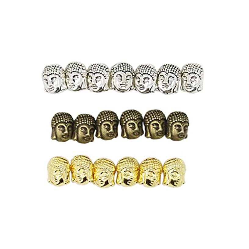 30PCS Vintage Buddha Small Spiritual Metal Beads Mix Colors Spacer for Jewelry Making Bracelet 10x8mm