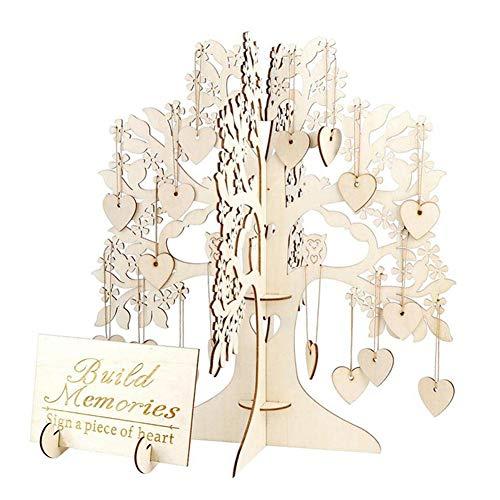 LYAmber Libro de Invitados de Boda de Madera Firma Libro árbol de Deseos de Madera Signo de visitas