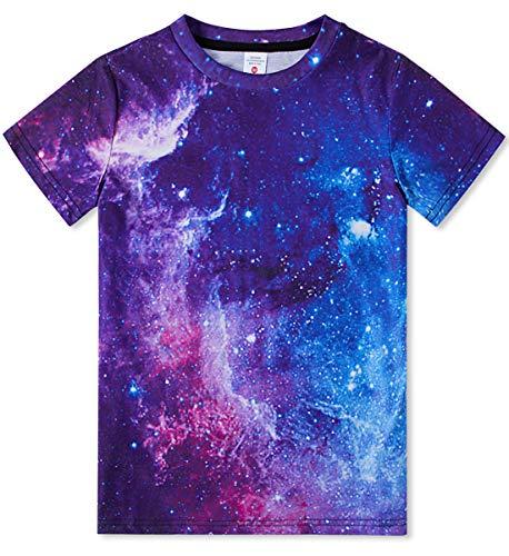 UNIFACO Camiseta infantil divertida 3D para chicos con cuello redondo, regalo personalizado, manga corta, para verano, fiesta morado 13-14 Años