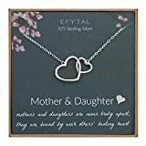 EFYTAL Mom Gifts, 925 Sterling Silver 2 Interlocking Hearts Necklace for Mother & Daughter, Mom Necklaces for Women, Best Birthday Gift Ideas, Pendant Mother's Day Jewelry For Her, Mothers Day
