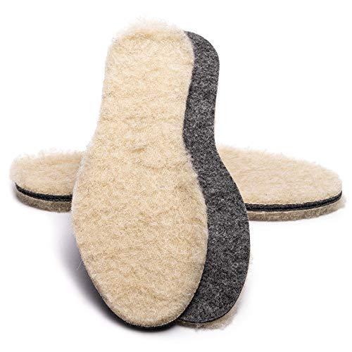 SULPO Filz Einlegesohlen mit Schafwolle - Super Warme Isolierende Schuheinlagen aus Wolle - Einlagen für Winterschuhe / 2 Paare, Gr. 35-47 (43)