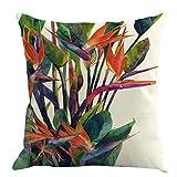 Fossrn Fundas Cojines 45x45, Tropical Floral Hojas Cuadrado Funda de Almohada Decoración del hogar (04)
