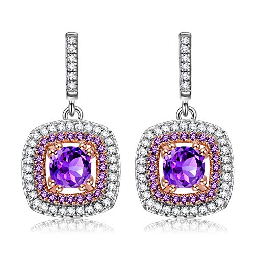 Alex Perry Women Earrings Gifts for Her  Impression:Sunrise  925 Sterling Silver Drop Dangle Pierced Earrings Purple Cubic Zirconia Gifts for Women Ladies Girls