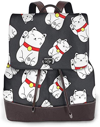 Flyup Damen PU Leder Rucksack Lucky Cat, Schoolbag Casual Daypack School Travel Bag Satchel Laptop Backpacks for Women