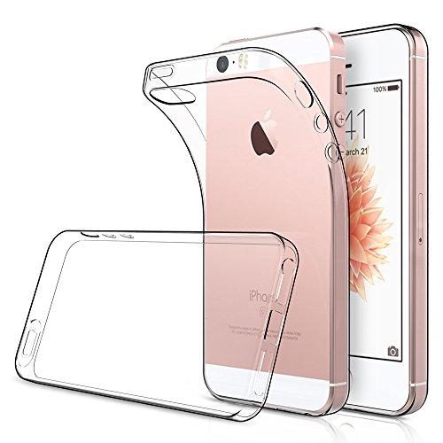 Simpeak 2-Stück Hülle Kompatibel mit iPhone SE Transparent [2 Pcs], SchutzHülle Silikon Durchsichtige Dünn TPU Case Kompatibel für iPhone SE / 5S / 5 - Transparent