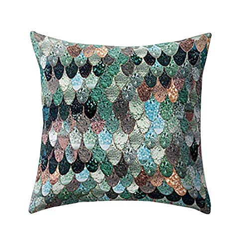 Decor Sofa Cushion Cover Fish Scale Peach Skin Pillow Case, Christmas Holiday Party Decoration