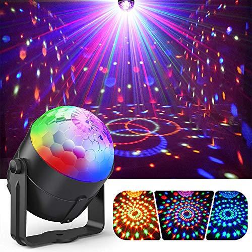 Gvoo - Foco de 5W para fiesta, con bombillas led 7RGB y control acústico - Mini proyector de bola cristal con mando a distancia - Para fiestas, discotecas, bares y karaokes