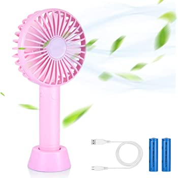 CellphoneMall USB Desk Personal Fan WT-F13 Bamboo Design 2000 mAh Mini Portable Fan with 3 Speed Control Color : White Pink