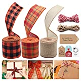 3 Rolls Assorted Burlap Ribbons, Fall Plaid Wired Ribbons for Wreath, Orange Natural Craft Thanksgiving Halloween Wrapping Ribbon Floral Bows Craft with Gift Tags and Natural Jute Twine for Decoration