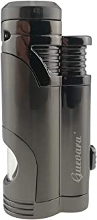 Torch Butane Lighters Fuel Refillable Lighter with Punch High Quality Cutter and Set 2 Jet Strong Flame Windproof
