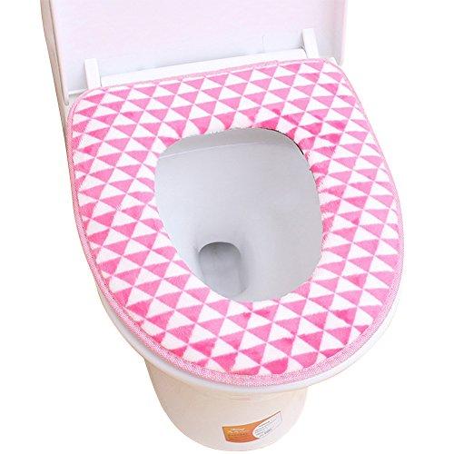 Milopon Housse de siège de WC Lavable en Flanelle pour l'hiver 37 x 42,5 cm, Rose, 37cm*42.5cm