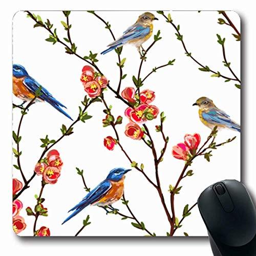 Mouse Pad Weißblau Muster Begrüßungnatürliche Sakura Zufällige Pflanze Tropische Vintage Natur Romantische Blume 25X30Cm Spiele Mousepad Langer Computer Rutschfester Custom Office