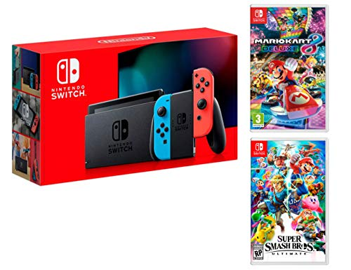 Nintendo Switch Rouge/Bleu Néon 32Go + Super Smash Bros: Ultimate + Mario Kart 8 Deluxe