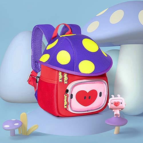 AAGYJ Mochilas para niños Mochilas Escolares para niños, Mochila Escolar de la Serie Mushroom, Mochila con Forma Bonita para niños de jardín de Infantes de 3 a 6 años, Regalo Creativo de Moda,Azul