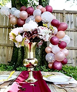 Rose Gold Balloons, Confetti Balloons and Burgundy Balloons with Accessories - Pack of 30, 3 Style, 12 inch | Great for Bridal Shower Decorations | Birthday Decorations | Fall Wedding Decorations