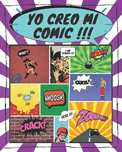 co creo mi comic: 💥100 plantillas en blanco para adultos, adolescentes y niños💥 formato largo | con onomatopeya
