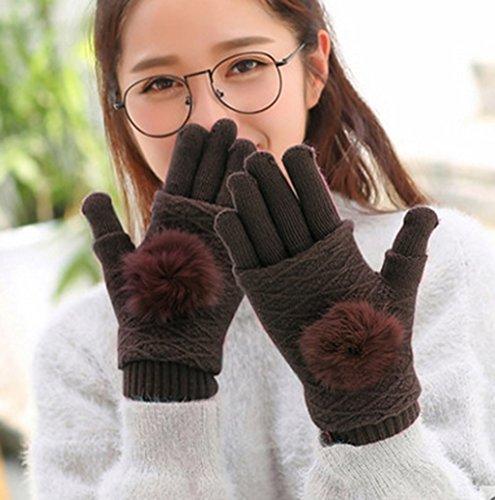 Gloves-zx Autunno e in Inverno Bella Tenere al Caldo più Velluto Ispessimento Studente Che Lavora a Maglia Punti Dito Touch Screen Femmina Guanti Invernali (Colore : E, Dimensioni : 2#)