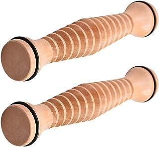 EXCEART 2 Stuks Houten Handheld Voet Roller Hout Voet Zool Relaxtion Relief Roller Massager Voor Mannen Vrouwen ( Kaki )