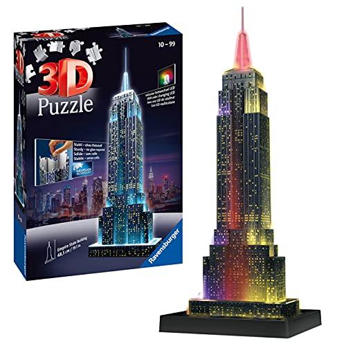 Ravensburger 12566 1 Puzzle 3D, Empire State Building, Edizione Speciale Notte con LED, 216 Pezzi, Età Consigliata 10+, Puzzle Ravensburger - Stampa di Alta Qualità