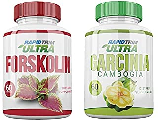 Rapid Trim Garcinia Cambogia + Ultra Forskolin Bundle. Control Hunger, Block Fat Production, Raise Serotonin Levels. 100% Safe, Pure Ingredients. All Natural Appetite Suppressants with HCA