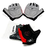 GEARONIC Cycling Bike Bicycle Motorcycle Glove Shockproof Foam Padded Outdoor Workout Sports Half Finger Short Gloves - Red M