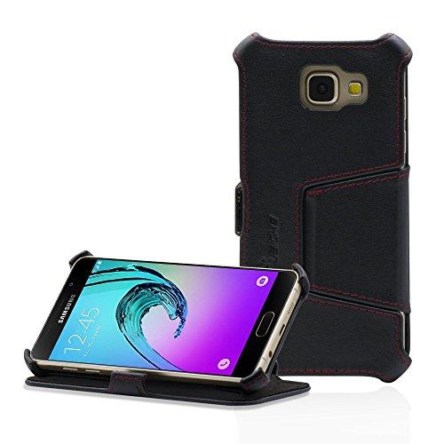 MANNA Funda ultradelgada compatible con Samsung Galaxy A3 de 4,7 Pulgadas (2016) SM-A310   Posición EasyStand   Funda de selecta piel de Nappa   Suave interior de microfibra