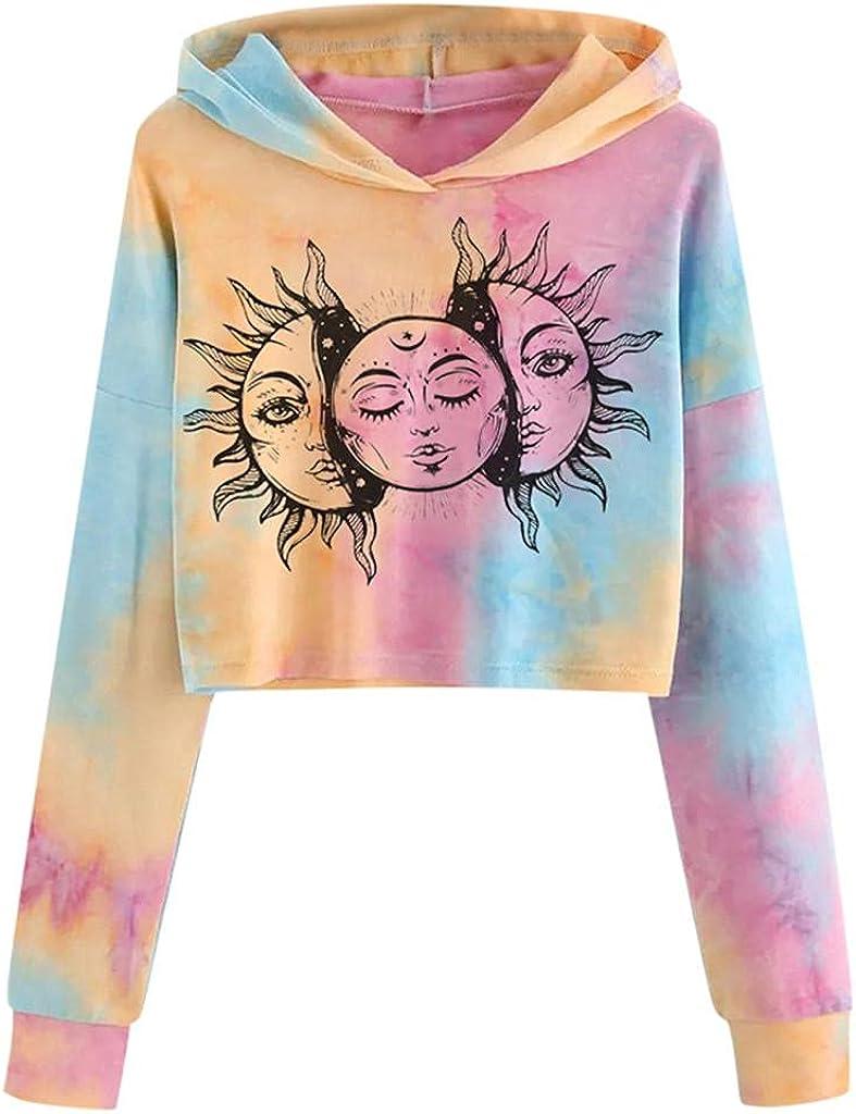 Women Crop Top Cute Sweatshirts Teen Girls Fashion Hoodie Tie Dye Crop Top Sweatshirt Long Sleeve Sun Printed Pullover