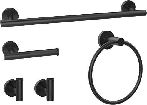 """2021 CNWNP 5 Pieces Bathroom Hardware Set 304 Stainless Easy to sale Install wholesale Towel Rack Set Include 16"""" Towel Bar, Toilet Paper Holder, Towel Ring and 2 Robe Hooks, Bathroom Accessory Set, Matte Black online"""