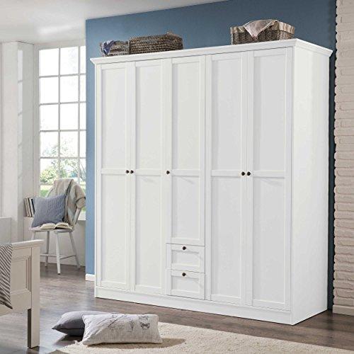 moebel-dich-auf Landhaus Schlafzimmer Kleiderschrank 5-türig Stockholm in weiß 190 x 200 x 67 cm