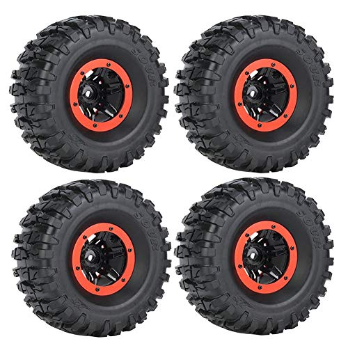 Neumático de Oruga RC, Cubo de Rueda de Neumático Inflable de Plástico y Goma RC Disponible Compatible para Traxxas / Hsp / Redcat / RC4wd D90 / Tamiya / Axial scx10 Hpi RC Car( Rojo)