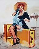 Letrero de metal de 20,3 x 30,5 cm, diseño de chica de maleta, decoración para el hogar, bar, sala de café, decoración vintage