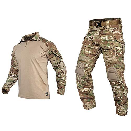 THWJSH Herren Military Tactical Suit Gentleman Tactical Long Sleeve Combat Shirt Training Military Outdoor Hose Combat Uniform für Outdoor Training Gelb-S