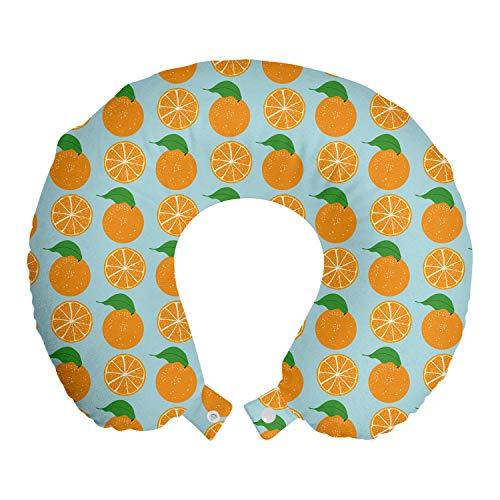 ABAKUHAUS Naranja Cojín de Viaje para Soporte de Cuello, Las Frutas Vitamina C Cortar la Mitad, de Espuma con Memoria Respirable y Cómoda, 30x30 cm, Azul Claro y Naranja
