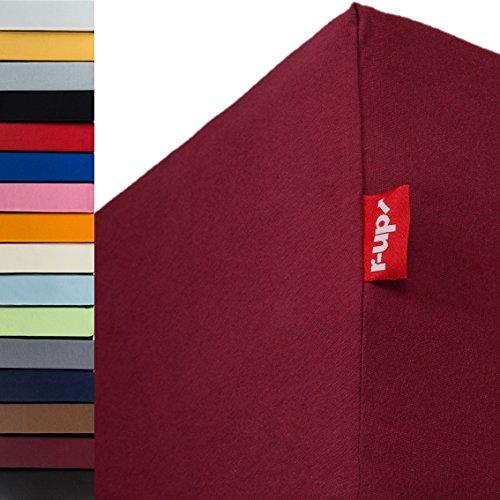 r-up Beste Spannbettlaken 200x220-220x240 bis 35cm Höhe viele Farben 95% Baumwolle / 5% Elastan 230g/m² Oeko-Tex stressfrei auch für Wasserbetten (Bordeauxrot)