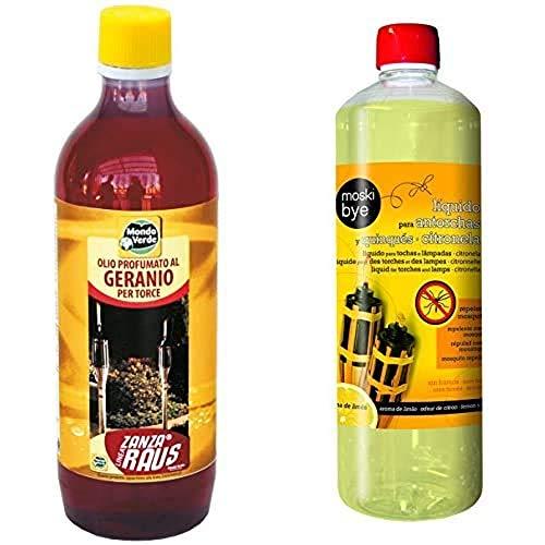 Mondo Verde Aceite antorchas Geranio de 1000 ml, Rojo, 5.5x5.5x24 cm, PLZ12EP + Flower 20551 20551-Liquido para antorchas y quinqués citronela, No Aplica, 7.5x7.5x25.5 cm