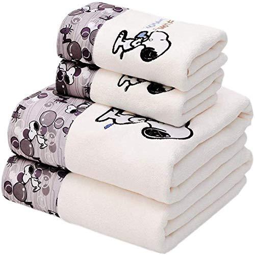 Temiuebsd 1 Badetuch 1 Handtuch Cartoon Snoopy Gedruckt Mikrofaser Stickerei Cartoon Super Weich Und Saugstark Blau 70 * 140Cm