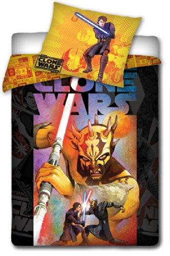 Star Wars Clone Wars - Juego de Ropa de Cama Infantil de algodón con Funda nórdica (160 x 200 cm) y Funda de Almohada (70 x 80 cm), diseño de Clone Wars