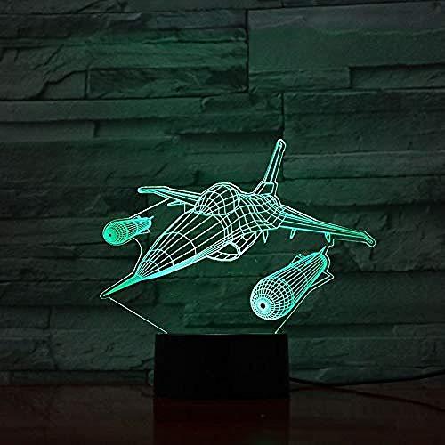 Avión de combate Warcraft USB Led Night Light 3D Illusion Fighter Gece Lamba Warplane Lámpara de noche