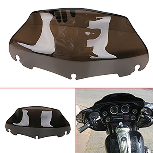"""Espear Motorcycle 9"""" Wave Windshield Windscreen with Smoked Dark for Harley FLHT FLHTC FLHX Touring 2014-2017"""