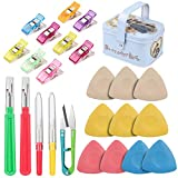 Tailors Chalk Seam Ripper Sewing Quilting Clips Kit,Professional Sewing Tool Kit Includes Sewing Fabric Markers Tools, Seam Ripper and Thread Remover Kit,Quilting Clips and Sewing Fabric Clips