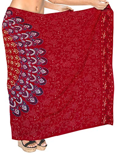 LA LEELA Mandala de Lotus Ropa de Playa Traje de baño Bikini Encubrir Sarong para Mujer Traje de baño del Traje de baño 78'X39' Blood Rojo_D298