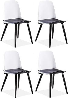 LHHL Set de 4 Sillas de Libros/Sillas de Cocina Modernas para el Desayuno Barra de Cocina, Pierna de Metal (Color : White+Black)