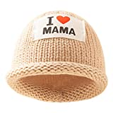 Yolispa Baby Round Hat Winter Spring Knitted Beanie Patchwork Letter Cap 0 to 3 Year Khaki