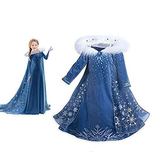 VBY Snow Princess Costume Girls Halloween Cosplay Fancy Dress Queen Christmas Birthday Party Dress 3-8T