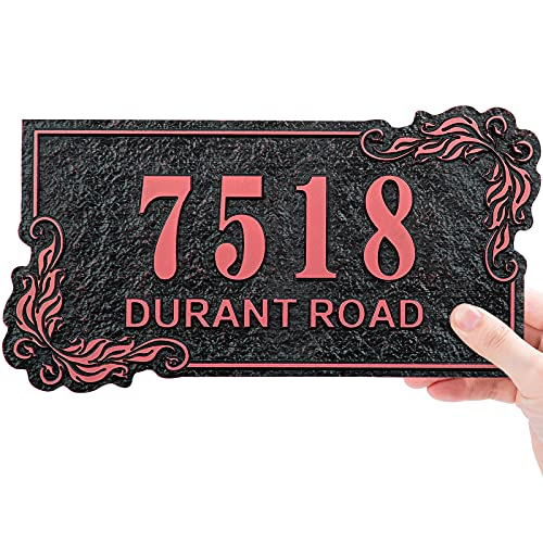 Custom Address Plaque,Personalized House Sign Number Plate,Home Street Name Mailbox Number Garden Wall Plaque - Rust Resistence Outdoor - 911 Visibility Clear Font 9.8  x 5.5  (Rose gold)