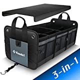 Knodel Car Trunk Organizer, Foldable Cover, Heavy Duty Collapsible Car Trunk Storage Organizer, Car Cargo Trunk Organizer with Lid, 3 Compartments, with Straps (Gray)